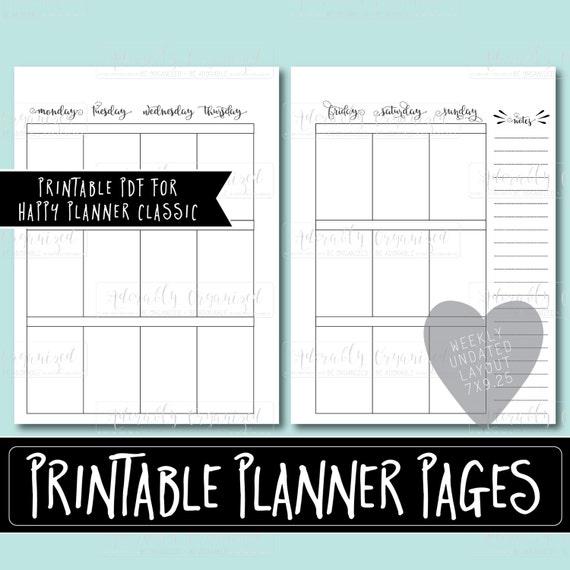 Happy Planner Calendar Refills : Happy planner printable weekly refills inserts pdf
