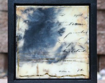 Celestial Messages (1) Framed, Original Encaustic Painting