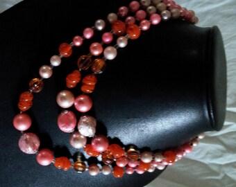 Vintage 3 Strand Bead Choker Necklace, Orange Art Glass Beads, Pink Beads, Nice Necklace!
