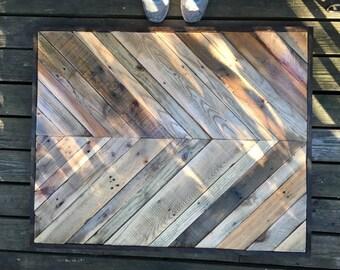 Chevron reclaimed wood coffee table