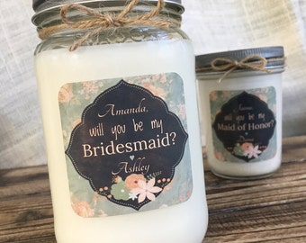 Vintage Will You Be My Bridesmaid Personalized Soy Candle | Mason Jar Candle