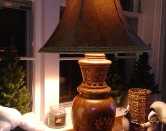 Oak Lamp with Maple and Rosewood Inlay