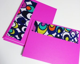 Pink and Polka Dot Blank Card with Envelope // Navy and Pink Greeting Card // Wax Pattern Fabric Blank Greeting Card