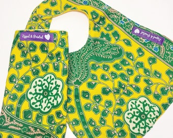 Yellow Bib and Burp Set // African Print Bib and Burp Cloth // Yellow and Green Burp Cloth and Bib
