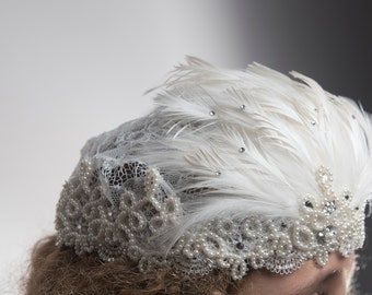 Lace, feather, pearl headpiece - Daisy from the Gatsby Collection
