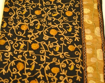 Embroidered kashmiri black scarf/shawl