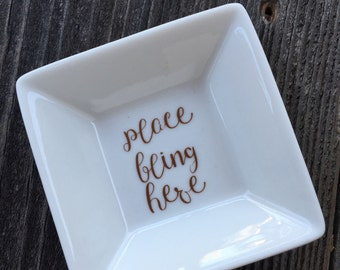 Place Bling Here Ring Tray, Porcelain Ring Holder, Ring Tray, Jewelry Holder, Jewelry Tray, Engagement Gift, Bridesmaid Gift, Birthday Gift