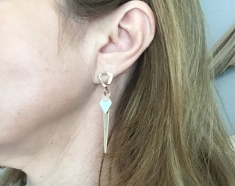 Rose gold filled and sterling silver geometric earrings