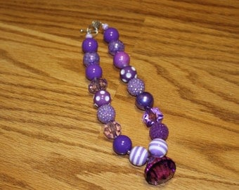 Purple Chunky Beaded Necklace with Jewel