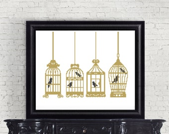 Hanging Gold Bird Cage with Black Bird Counted Cross Stitch Pattern - PDF Digital Download