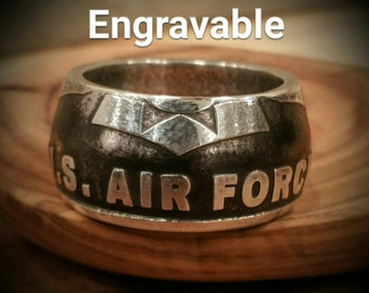 Silver US Air Force Ring - Hand Forged .999 Pure Silver USAF Coin Ring