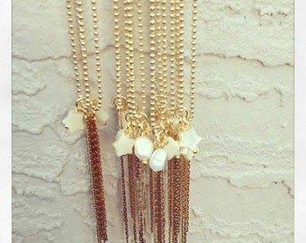 Long gold filled necklace with fresh water pearl