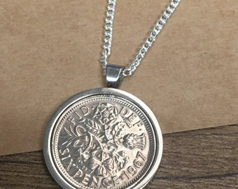 1952 65th birthday Lucky sixpence coin pendant necklace