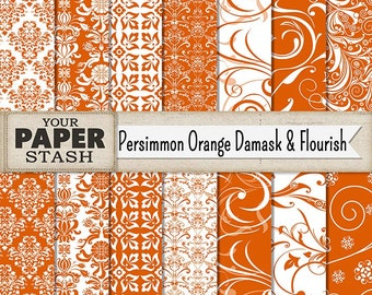 Damask Digital Paper, Persimmon Orange Flourish & Filigree Scrapbook Paper, Wedding, Autumn, Thanksgiving Papers, Instant Download, Print