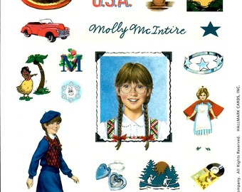 MOLLY HALLMARK STICKERS / Retired 2001 / American Girl /. Pictures From First Books