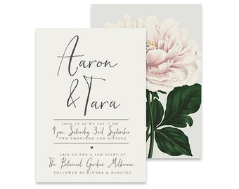 Floral Wedding Invitation | Forever Yours | Printable DIY Invite, Affordable Wedding Invitation | Clean, simple white invitation with peony