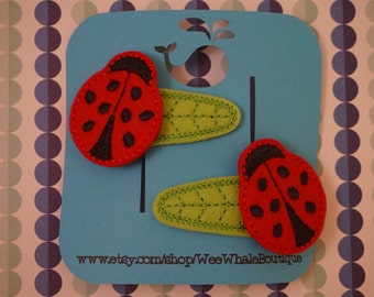 Ladybug Hair Clips, Set of 2, Right and Left