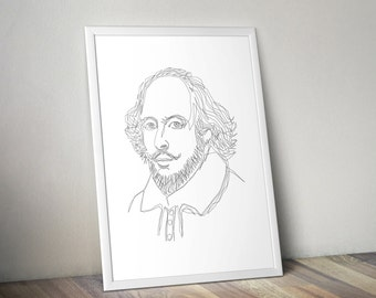 Shakespeare - One Line Poster