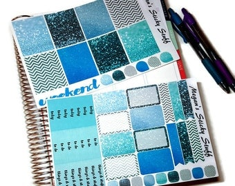 Aquatic Glitter Planner Stickers | Vertical Weekly Sticker Kit for use with Erin Condren Lifeplanner™