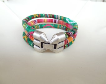 EXPRESS SHIPPING,Colorful Cotton Bracelet,Boho Bracelet,Hook Clasp Triple Bracelet,Cuff Bracelet,Multicolor Ethnic Bracelet Gift for Her
