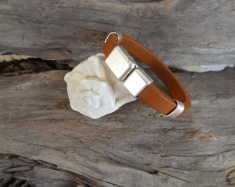 EXPRESS SHIPPING,Men's Camel Leather Bracelet, Men's Jewelry, Silver Magnetic Clasp Bracelet, Men's Cuff Bracelet, Father's Day Gifts