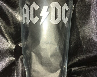 AC/DC hand engraved pint glass, can be personalised