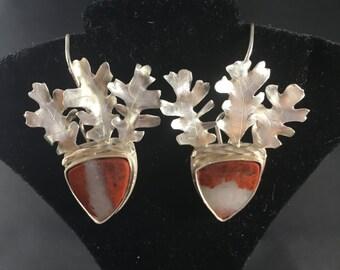 Oak Leaf & Acorn Sterling Silver Earrings