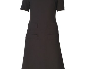 1960s Vintage Jean Patou Brown Wool Mod Space Age Mini Dress UK 8/10