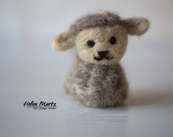 Needle Felted Gray Sheep, Fiber Art,  Felted Animal, Eco Wool Hand Felted Toy, Wool Felt Animal, Collectible Toy, Needle Felted Animal