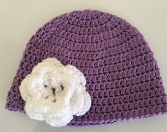 Crochet Hat with Crochet Flower