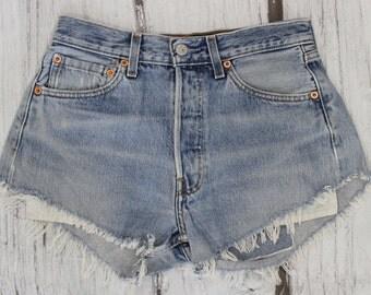 Levis 501 Shorts sz 28, High Waist Vintage Jean Shorts