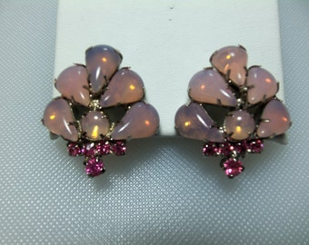 Pink Opalescent and Pink Rhinestone Silver Tone Clip Earrings