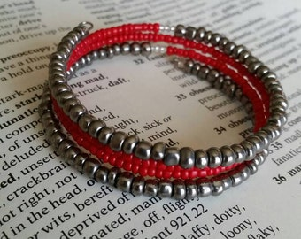 Red and Silver Memory Wire Bracelet. Beaded Memory Wire Bracelet. Cute Red Bracelet. Simple Memory Wire Bracelet