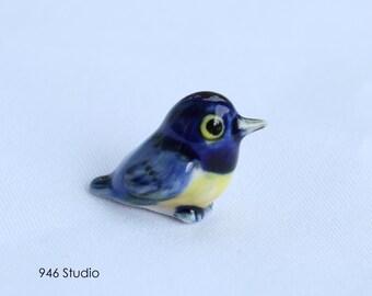 miniature blue bird ceramic, terrarium decor