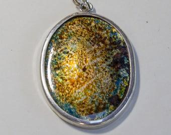 Fire-enamel pendant lights mounted with silver hoop