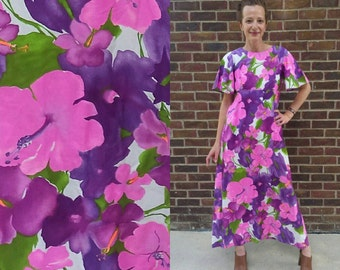 Vintage 70s Floral Maxi Dress Vintage 60s Dress Floral Maxi Dress Festival Dress Boho Dress Hippie Dress Medium / Large SHIPS FREE!