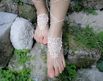 Beach Wedding Barefoot Sandals Crochet Bridal Shoes