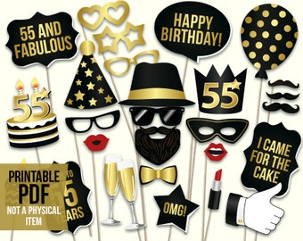 55th birthday photo booth props: printable PDF. Black and gold fifty fifth birthday party supplies. Instant download Mustache, lips, glasses