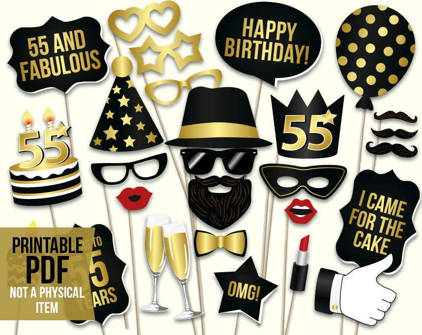 55th Birthday Photo Booth Props Printable Pdf Black And Gold