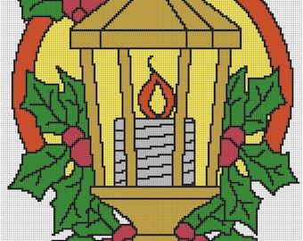 Christmas Street Lamp 8x10 cross stitch pattern