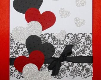 Elegant Valentine's Day Card, Valentine Card, Anniversary card, sweetheart card, I love you, Handmade Card