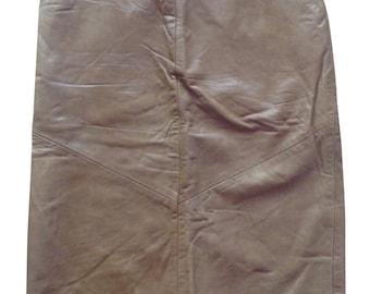 Vintage Leather Skirt, Tan Colour, Size 12.