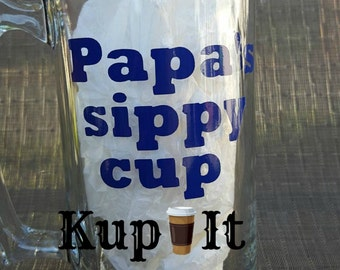 Papa beer Stein Papa's sippy cup funny 28 oz beer mug with blue vinyl by kup it