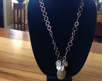 Copper chain necklace with pendants