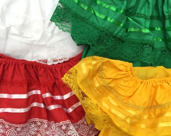 Mexican Gypsy Peasant Lace Blouse Hippie Top ASSORTED COLORS Red White Yellow Green Made in Mexico