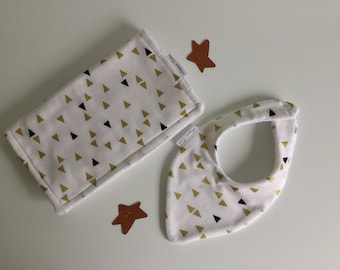 Baby Gift Set/Burp Cloth/Newborn Bib/Gold & Black Triangles
