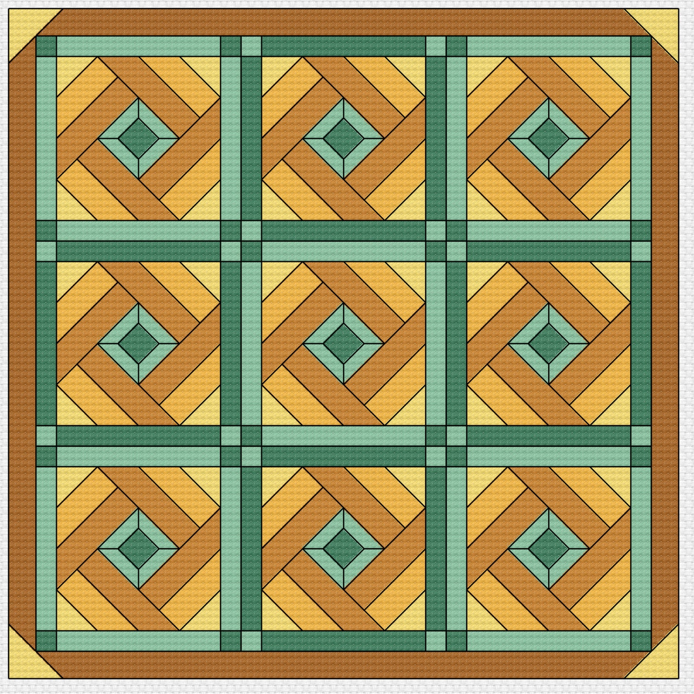 Cross Stitch Quilt Patterns : Cross Stitch Pattern Quilt Block Spool