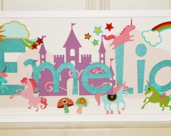 Unicorns & Rainbows Nursery Name Sign