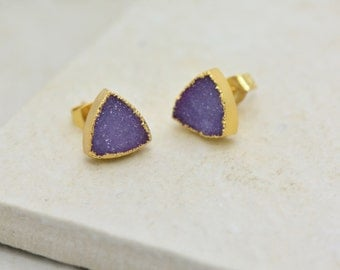 Purple Triangle Druzy Crystal Earrings - 24K Gold Dipped - 10mm Triangle - Earring Studs & Posts