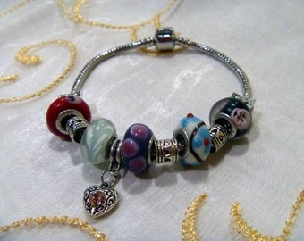 "Glass Bead Silver Plated Charm Bracelet 8"""
